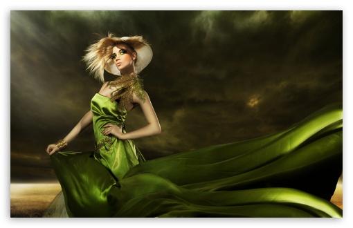 Download Girl in Green Dress UltraHD Wallpaper