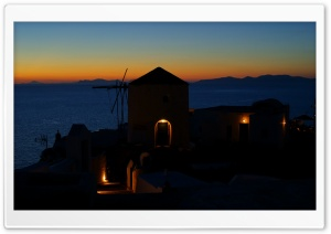 Oia at evening, Santorini,...