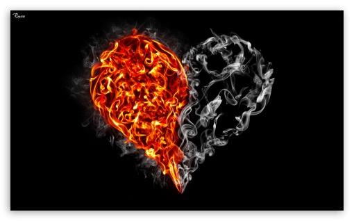 Download Fire and Smoke Heart UltraHD Wallpaper