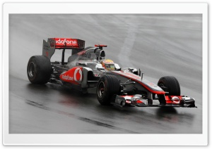 F1 Car On A Wet Track