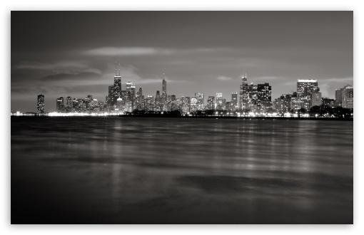 Download Chicago Skyline BW UltraHD Wallpaper