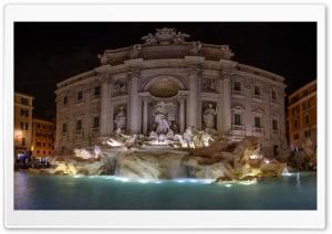 Trevi Fountain at night,...