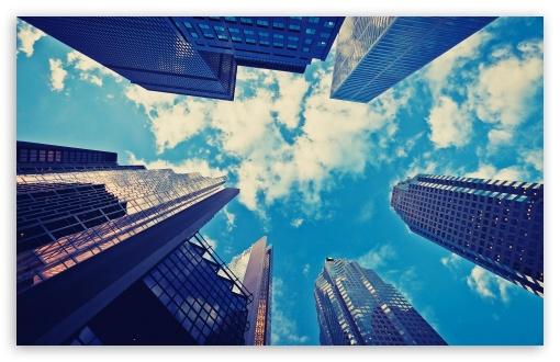 Download Skyscrapers Blue Sky UltraHD Wallpaper