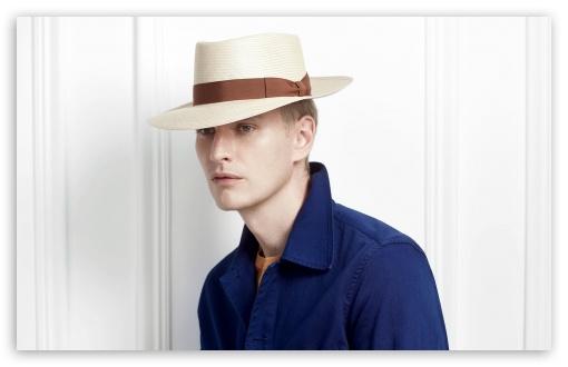 Download Man Model wearing a Panama Hat UltraHD Wallpaper