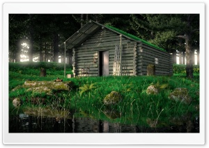 Wood Cabin In The Woods 3D