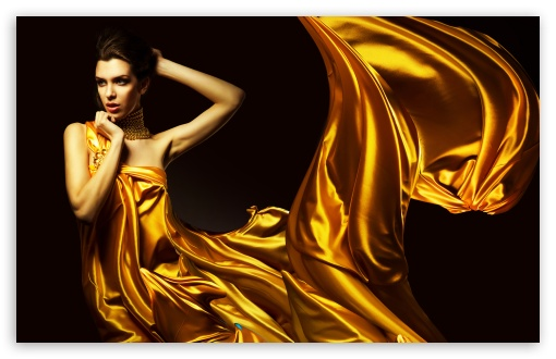 Download Lady in Yellow UltraHD Wallpaper
