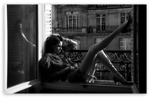 Download Woman Sitting Near The Window UltraHD Wallpaper
