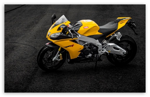 Download Aprilia RSV4 Yellow Motorcycle On Road UltraHD Wallpaper