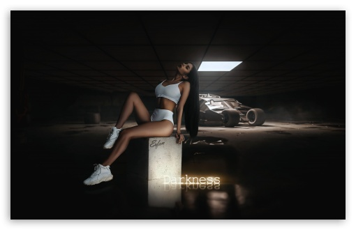 Download Girl in Batcave - Darkness UltraHD Wallpaper