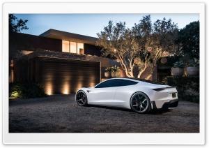 White Tesla Roadster Electric...