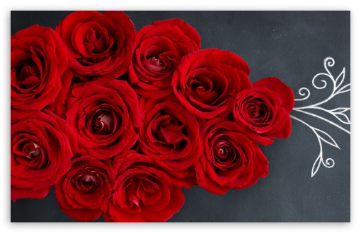 Download Red Roses on a Chalkboard UltraHD Wallpaper