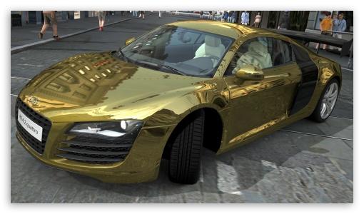 Download Audi R8 4.2 Quattro Gold UltraHD Wallpaper