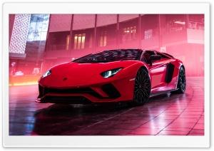 Red Lamborghini Aventador S...