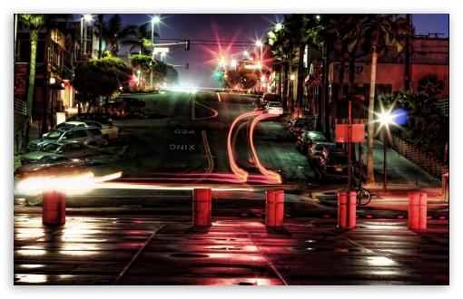 Download Car Lights At Night UltraHD Wallpaper