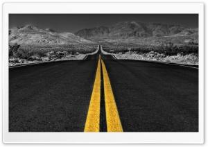 Long Desert Road Black And White