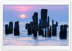 Sunrise, Water, Lake, Pier,...