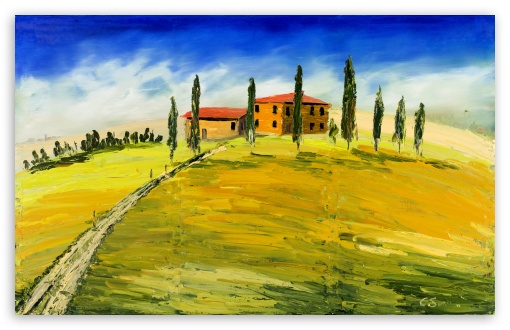 Download Toskana Olgemalde, Tuscany Oil Painting UltraHD Wallpaper