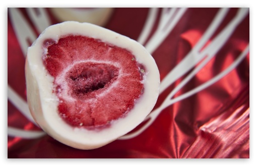 Download Ice Cream Coated Strawberry UltraHD Wallpaper
