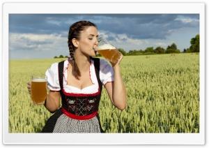 German Woman Drinking Beer