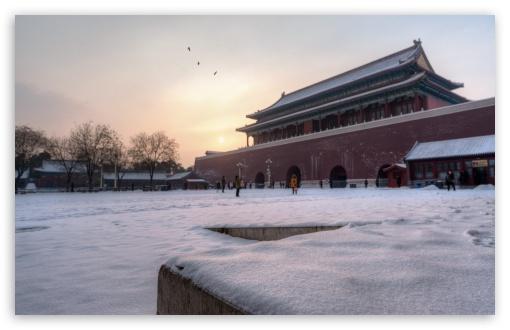 Download Snowy Morning at the Forbidden City UltraHD Wallpaper