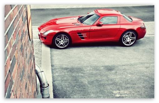 Download Red Mercedes Benz SLS AMG UltraHD Wallpaper
