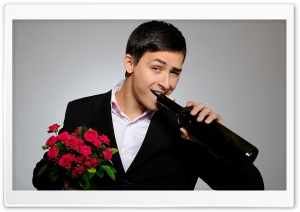 Man With Flowers And Wine Bottle