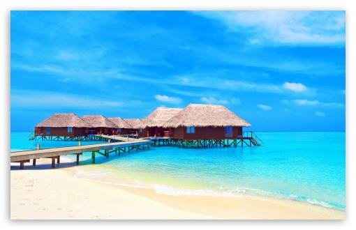 Download Tropical Water Bungalows UltraHD Wallpaper