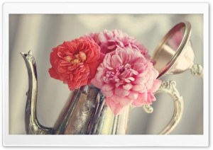 Roses Flowers, Antique Silver...