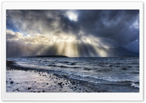 Crepuscular Rays Over Sea