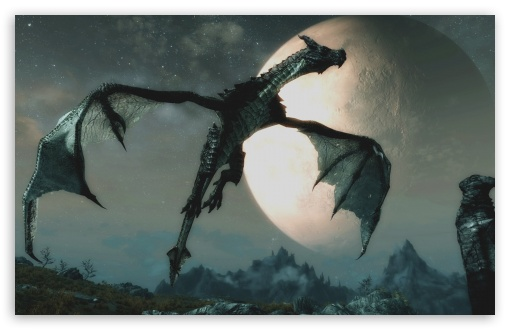 Download The Dragon and the Moon UltraHD Wallpaper