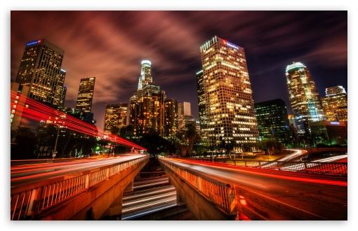 Download Downtown Los Angeles At Night UltraHD Wallpaper