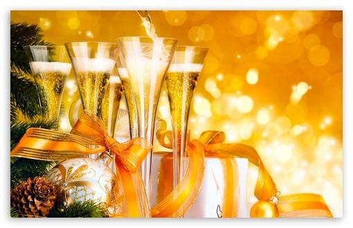 Download New Year Champagne UltraHD Wallpaper