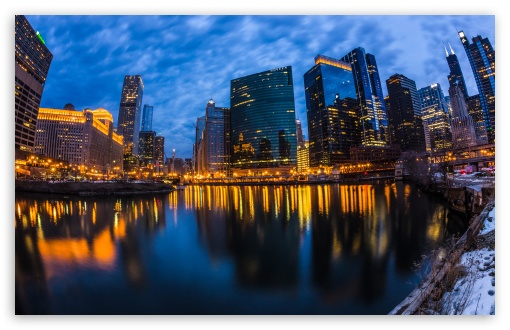 Download Wolf Point Chicago City Lights UltraHD Wallpaper
