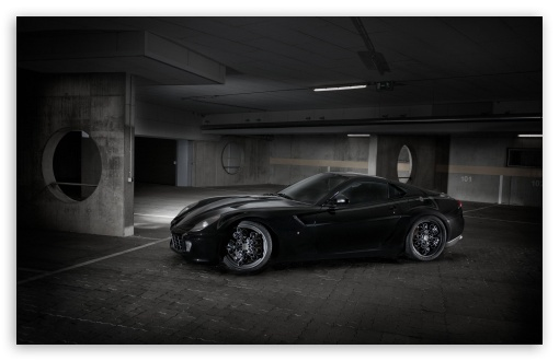 Download Ferrari 599 Black Sideways UltraHD Wallpaper