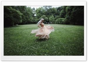 Woman in Dress Spinning Around