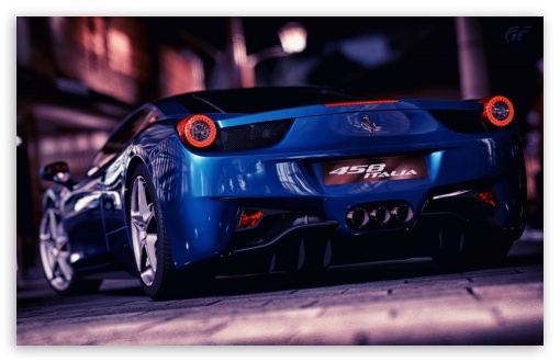 Download Ferrari 458 Italia Blue UltraHD Wallpaper