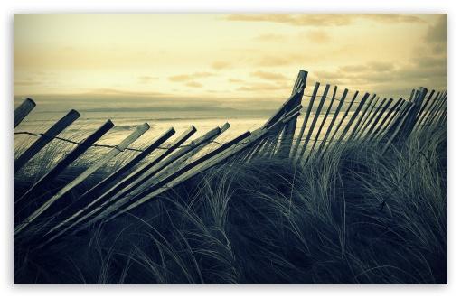 Download Beach Wooden Fence UltraHD Wallpaper