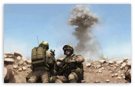 Download War Soldiers Painting UltraHD Wallpaper