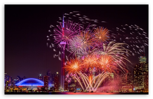 Download Fireworks Toronto UltraHD Wallpaper