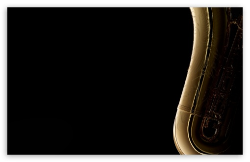 Download Saxophone On Black Background UltraHD Wallpaper