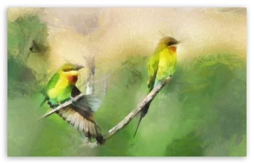 Download Birds Portrait Painting UltraHD Wallpaper