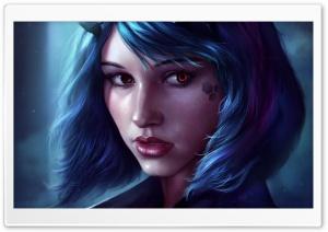 Fantasy Girl Face Blue Hair