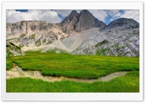 Mountain Ground Grass Stream