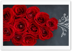 Red Roses on a Chalkboard