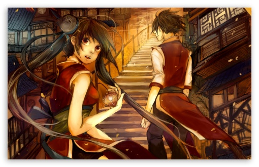 Download Boy And Girl On The Stairs UltraHD Wallpaper