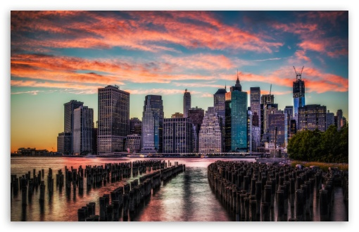 Download Manhattan Skyline Sunset UltraHD Wallpaper