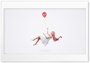 Girl Flying Holding a Balloon