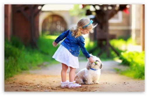 Download Girl and Dog UltraHD Wallpaper