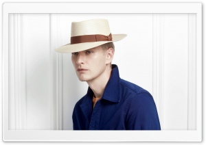 Man Model wearing a Panama Hat