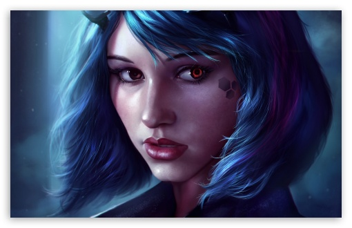 Download Fantasy Girl Face Blue Hair UltraHD Wallpaper